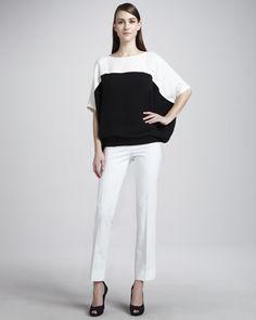 Mariah Colorblock Silk Top & Side-Zip Cropped Pants by Lafayette 148 New York