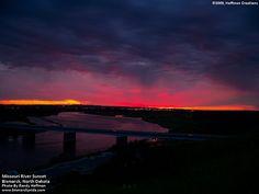 bismarck missouri river    Sunset Scene of Missouri River in Bismarck, North Dakota   by Randy Hoffman