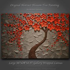 """Large 36""""x24""""x1.5"""" Original Blossom Tree Painting Palette Knife Impasto Textured Gallery Canvas - Wired Ready to Hang FAST FREE SHIPPING"""