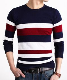 $12.39 Slimming Color Block Stripes Spliced Round Neck Long Sleeves Sweater For Men
