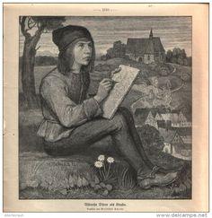 "Albrecht Dürer als Knabe  - Druck, ausgeschnitten  aus ""die Gartenlaube"", 1909"