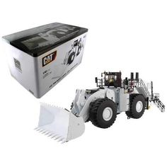 CAT Caterpillar 994K Wheel Loader with Coal Bucket in White with Operator 1/50 Diecast Model Caterpillar Equipment, Tire Tread, Metal Railings, Machine Photo, High Line, Jeep Cars, Car Set, Diecast Model Cars, The Ordinary