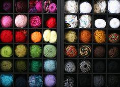 Wine rack as yarn storage