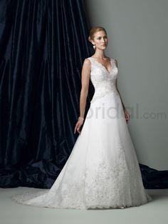 Organza V-Neckline Low Dipped Back Bodice A-line Wedding Dress
