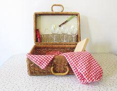 25 OFF SALE vintage picnic basket / wicker by RustBeltThreads