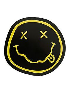 Heavy duty embossed metal sticker from Nirvana featuring the iconic smiley logo design. Brand Stickers, Phone Stickers, Cool Stickers, Lisa Simpsons, Nirvana Logo, Band Patches, Tumblr Stickers, Emblem, Aesthetic Stickers