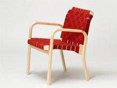 Artek45Wooden chair with armrests, design by Alvar Aalto (1947)