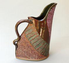 Hand-built Stoneware Pitcher by Helene Fielder