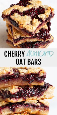 """Cherry Almond Oat Bars - so tender and """"buttery"""" that you'd never guess they were made without any flour or butter! Cherry Almond Oat Bars - so tender and """"buttery"""" that you'd never guess they were made without any flour or butter! Healthy Snacks To Buy, Easy Snacks, Healthy Desserts, Healthy Oat Bars, Healthy Snack Recipes, Yummy Healthy Snacks, Healthy Vegan Snacks, Snacks Recipes, Healthy Baking"""