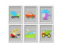 Bold Bright Colorful Cars Transportation Boat Grey Chevron Pattern Artwork Set of 6 Prints Wall Decor Art Bedroom Picture Child Crib Nursery