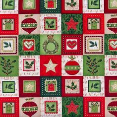 MAKOWER-CLASSIC-CHRISTMAS-BLOCKS-PATCHWORK-STARS-HOLLY-COTTON-FABRIC-BTY