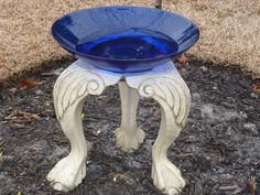 Birdbath...could this be made out of old chair legs??   cute idea