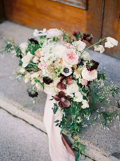 Absolutely beautiful sprawling wedding bouquet with a refreshing mix of pastel and jewelled tones // A historical building in The University of Hong Kong inspired the vision for this styled shoot captured by Lara Lam and planned by Ultimate Wedding HK. Lara grew up in Hong Kong and studied in France, and it is perhaps precisely her appreciation of Gallic and old world European aesthetics that lends itself to these beautiful bridal portraits.