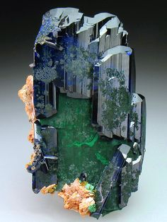 Azurite with Malachite -- Touissit, Touissit District, Oujda-Angad Province, Oriental Region, Morocco mw Cool Rocks, Beautiful Rocks, Minerals And Gemstones, Rocks And Minerals, Natural Gemstones, Mineral Stone, Rocks And Gems, Stones And Crystals, Gem Stones