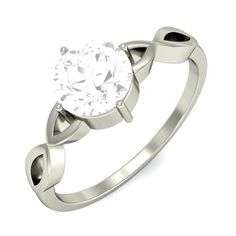 Twised Shank With Prong Set Round Solitaire Ring 18k White Gold #onlinejewelry