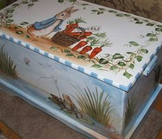 Custom designed Toy Chest inspired by Peter Rabbit