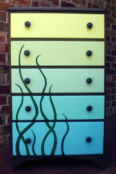 Dresser, Hand-painted With Ombre Blue Green Under Sea Motif For Child's Room