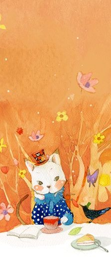 Cat having tea - love the little crow with the hat - pretty watercolors