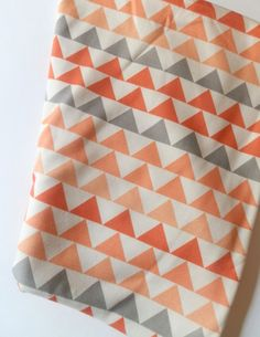 Baby Blanket Geometric Triangles Coral Peach by littlehipsqueaks, $44.35