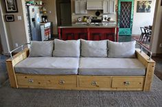 How to build a wood storage sofa with drawers using crib mattress cushions. Diy Couch, Sofa Couch, Couch Furniture, Furniture Plans, Furniture Design, Steel Furniture, Furniture Stores, Dollhouse Furniture, Couches