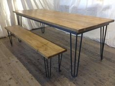 Diy Dining Table Benches Out Of Scaffold Boards Hairpin Legs