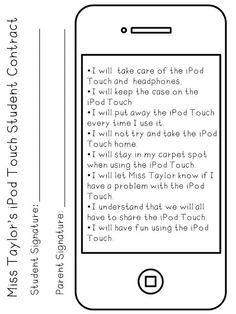 Technology Student Contract Teske Goldsworthy Kratt you could do this with cell phones in the classroom. Education And Literacy, Music Education, Teaching Technology, Teaching Tools, Classroom Organization, Classroom Management, Kindergarten Classroom, Classroom Procedures, Classroom Fun
