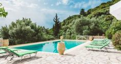 sun beds and pool in the Traditional villa for 8 in North Zakynthos, Greece, near The Peligoni Club with a pool