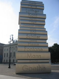 Book tower with famous authors. Berlin