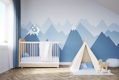 15 Current Parenting Trends You Will Want to Try - Kamo - Woodsy Decor Baby's room. Bed, Tent, Mountains.