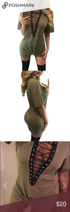 Women's lace up dress Brand new! Model in 3rd pic is wearing a size large. True to size. Looks exactly like pics. Beautiful stylish dress. Can be worn tied in the front or untied. Color is olive. Dresses