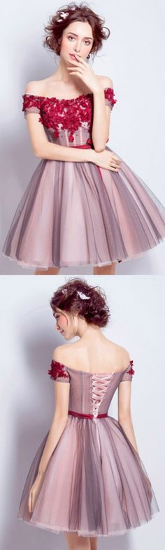 Lovely A-line Off-the-shoulder Short Tulle Formal Dress Homecoming Dress Prom Dress With Flowers
