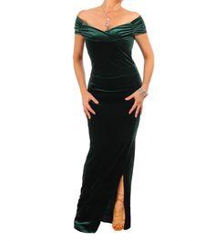 f1d1c75e50fb Emerald Green Velour Bardot Maxi Dress Smaragd Grøn