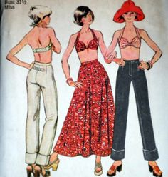 1970s jeans vintage sewing pattern Simplicity 6432 -- natural waisted