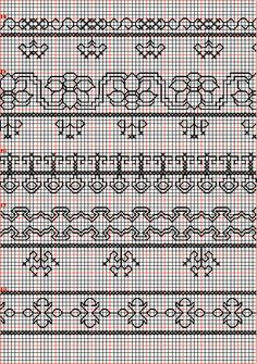 Embroidery and embroider:blackwork,borders 14-18