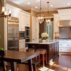 Mahogany cabinet island with marble countertop