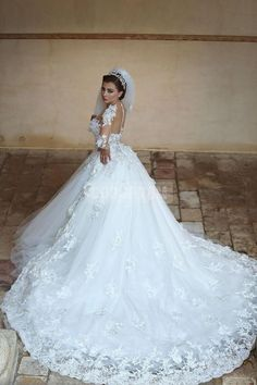 Long Sleeves Ball Gown Tulle Princess Jewel Cathedral Train Wedding Dress - Shedressing.com