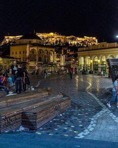#Monastiraki Square at night #Athens #Greece