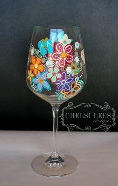 Summer & Spring Design Hand Painted Wine by ChelsiLeesDesigns