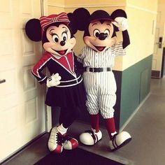 Baseball Mickey and Minnie Mouse
