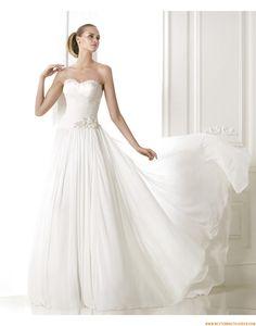 2015 A-linie Exklusive Schlichte Brautkleider aus Chiffon mit Perlenstickerei