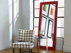 Rent the Delaney Red Leaning Mirror