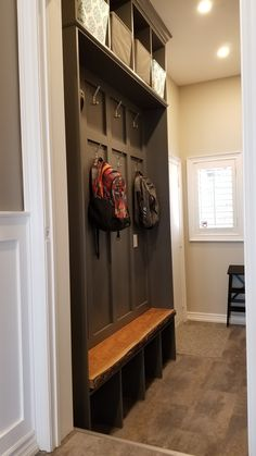 Mudroom in Boat Anchor grey with cherry live edge bench Small Entryways, Small Hallways, Hallway Designs, Foyer Design, Small Mudroom Ideas, Small Entrance, Entrance Hall, Front Hallway, Foyer Decorating