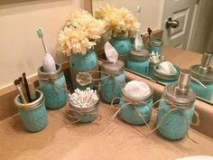 Rustic Housewives: 7 piece Painted Decorated Mason Jar Rustic Shabby Chic Distressed Farmhouse Twine Burlap Bathroom, All things rustic, Diy Abschnitt,