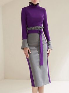 Plus Size Ruffled Color-block Statement Dress With Belt