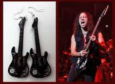 Kirk Hammett inspired guitar earrings Metallica by nikajon on Etsy