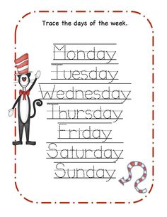 Preschool Printables: That Cat Printable (Seuss) days of the week