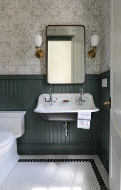 Hexagon Mosaic Tile, Wall Trim, Moldings And Trim, Bathroom Inspiration, Bathroom Ideas, Master Bathroom, Wood Bathroom Mirror, Bead Board Bathroom, Boy Bathroom