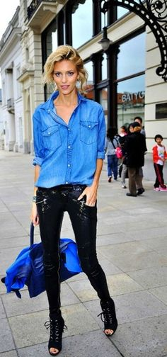 sequin skinnies + chambray shirt