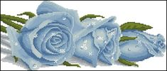 Gallery.ru / Фото #32 - 41b - markisa81 Cross Stitch Rose, Cross Stitch Flowers, Cross Stitch Patterns, Blue Roses, Cross Stitching, Flower Power, Hand Embroidery, Crochet, Handmade
