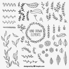 Dessinés à la main des éléments de décoration naturelle Vecteur gratuit